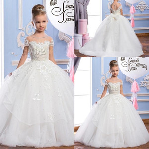 Wholesale 2019 Lace Puffy Tulle Ball Gown Flower Girl Dresses Appliques Girls Pageant Gowns Vintage Communion Dress Big Bow Back Custom Made