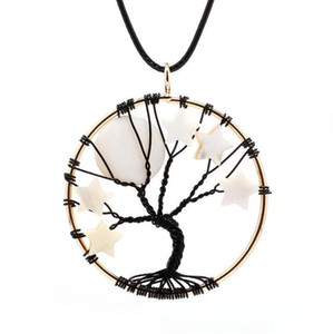 Wholesale 1pc White Moon Stars Gemstone Quartz Chips Trees of Life Pendant Necklace Bohemian Hippie Jewelry Natural Stone Leather Cord Necklace