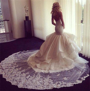 Wholesale Gorgeous Lace Wedding Dresses Sexy Spaghetti Straps Lace Layered Mermaid Wedding Gowns Low Back High Quality African Vintage Bridal Dress