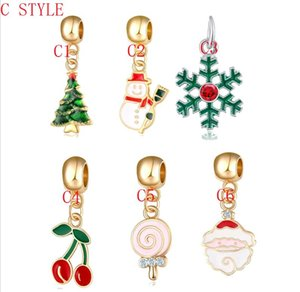 Wholesale Enamel Rhinestone Christmas Tree snow bell Santa Claus Charm Pendants For Jewelry DIY Necklace Christmas Decoration Supplies Jewelry cc775