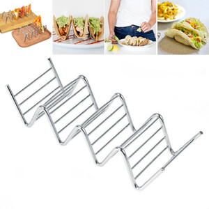 Wholesale taco holders resale online - Stainless Steel Taco Holder Colored Waves Shaped Food Rack Pie Pancake Rack Baking Pastry Tools WX9