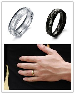 Lord of the Rings Laser Pattern Stainless Steel Band Unisex Power Finger Wedding Ring for Men High Polished, Silver Black Gold