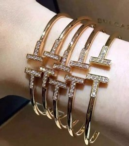 Wholesale 2016 Cubic Zirconia two letter T Shape Bangles Design Copper K Gold Plated Cuff Bracelet Bangle Cufflink Send Women valentine s day gift