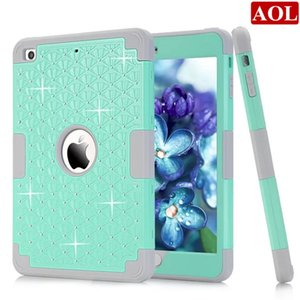 Wholesale Diamond For Apple iPad Mini Shockproof Protect Hybrid Hard Rubber Impact Skin Armor Case Cover DHL free