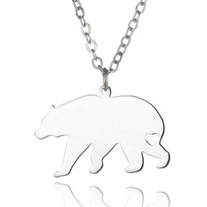 Wholesale Polar bear Pendant Necklace Stainless Steel Animals Charm Link Chain Jewelry for Women and Men Children Gifts