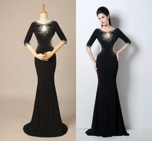 In-Stock Mermaid Backless Evening Dresses 2018 Crew Sweep Train Crew With Crystal Formal Party Pageant Celebrity Dresses on Sale