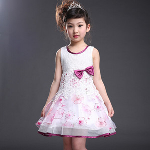 Wholesale Korean Fashion Embroidery Dress Round Neck Sleeveless Slim Princess Tide Girls Dress cm Sets Green Purple Color Skirts XREY233