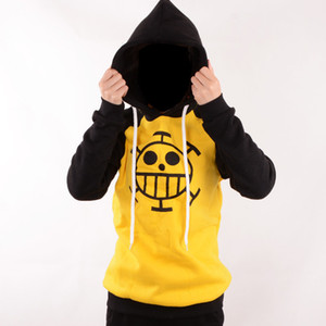 Wholesale Japanese Anime clothes One Piece Cosplay Trafalgar Law Costume Hoodie Adult Yellow Sweater Anime Fans Casual Daily Style