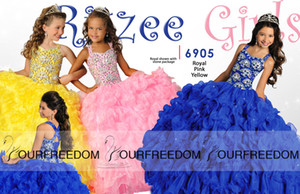 Wholesale 2019 New Crystal Girl s Pageant Dresses With Halter Beads Ruffles Ball Gown Organza Custom Modest Blue Yellow Pink Flower Girl Child Gowns