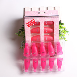 Wholesale 10Pcs Set Nail Polish Remover Soaker Reusable Plastic Keeper Salon DIY Nail Art Tool Wearable Gel off Acrylic UV Gel Cleaner Clip Cap Wrap