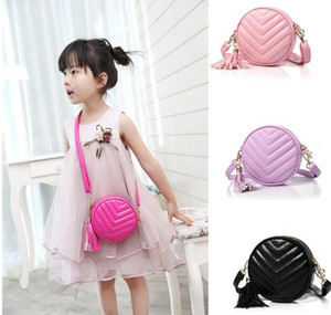 New style Round Tassels pendant Fashion bags For Kids Girls Fashion Trend children Princess one-shoulder PU Leather bags Handbags MD039 on Sale