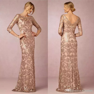 Wholesale 2018 Designer Elegant Rose Gold Sequins Appliqued Mother of the Bride Dresses Cheap Evening Party Dress Formal Wedding Guest Gowns