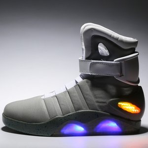 Air Mag Mens Lighting Mags Mens Shoes With LED Lights High Top Sneakers Black Grey with Box