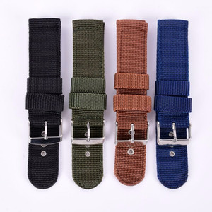 Wholesale Hot Sales Militar Watch Accessories Military Canvas Strap Watch Bands Army Nylon Fabric Canva Wrist Watch Band Strap