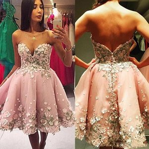 ingrosso abiti da sposa rosa abiti da ginocchio-2017 Nuove donne rosa abiti da cocktail Sweetheart Organza Prom Dresses Party Dress D Floral knee lunghezza Backless Ball Gown Homecoming Abiti