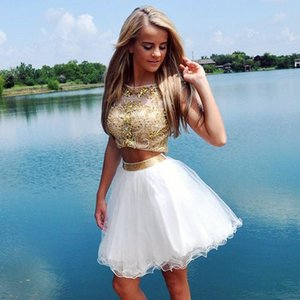 Wholesale two piece dresses short prom girl resale online - Robe de Soiree Girls Formal Evening Dresses Two Pieces beaded Short Prom Dress Hot Sale
