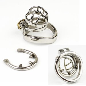 Wholesale NEW Stainless Steel Super Small Male Chastity Cage with Anti off ring BDSM Sex Toys For Men Chastity Device mm Short Cage