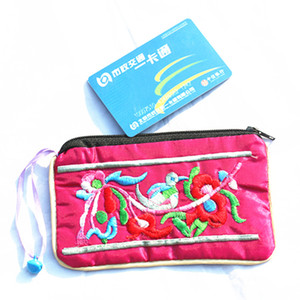 Wholesale Cute Ethnic Embroidered Zip Bags Small Bell Jewellery Pouch Gift Bags Decoratiing China Satin Fabric Coin Purse Bag Credit Card Holder Case