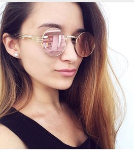 Wholesale 2017Future Women Men Round Sunglasses Steampunk Shades MultiColor Gradient Mirror Lens Goggles Designer Vintage Sun Glasses