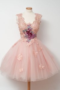Lace Applique Short Prom Dresses 2016 Pink Custom Made Party Dress Latest Gown Design Cheap vestido de festa on Sale