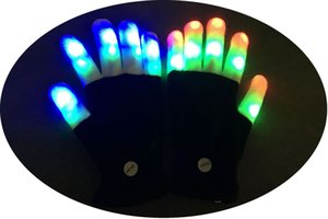 Wholesale Light flash LED autumn winter all finger knitting gloves novelty ball night stage props free delivery