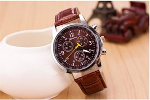 Wholesale New Arrive hot Dress Fashion Casual Watch Men Geneva Roman Numerals Genuine Leather with black blue brown