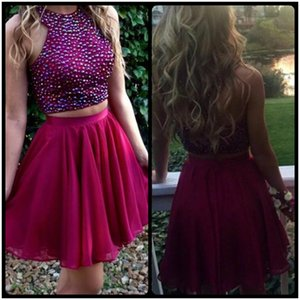 Wholesale two piece dresses short prom girl for sale - Group buy Two Pieces Prom Dresses Red Beading Short Homecoming Dresses Cheap Sleeveless Chiffon Cocktail Gowns For Girls Prom