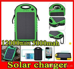 Wholesale 5000mah mah waterproof shockproof dustproof solar chargers Solar battery charger power bank mah port charger for mobile phone Tablet