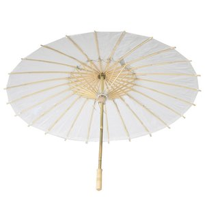 Wholesale 30pcs Bamboo Diameter inch Wedding Umbrella Parasol White Paper Long Handle Wedding Bridal Favor Parasol Adult Size ZA0946