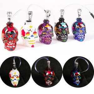 Wholesale Colored Skull Pipes Glass Hookahs Bong Zinc Alloy Glass With Leather Hose Portable Mini Pipes Smoking Accessories Lipstick Smoking Pipe