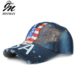 Wholesale JOYMAY Hats for Men and Women Hand Painted American Flag Victory Gesture Water Wash Cowboy Baseball Cap Casual Snapback Leisure Hat B476