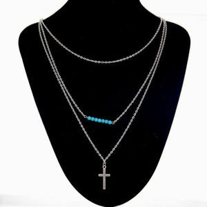 Wholesale 10Pcs Summer Style Jewelry Fashion Women s Cross Bead Layered Necklace Pendant Gem Turquoise Necklace Silver