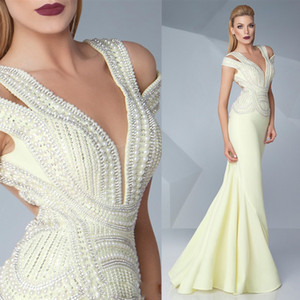 Peals Mermaid Evening Dresses Sexy 2019 Plunging Neckline Cheap Trumpet Evening Gowns Custom Made Formal Pageant Dress on Sale