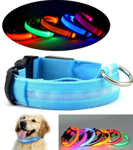 Wholesale Hot Sale Color S M L XL Size Glow LED Dog Pet Cat Flashing Light Up Nylon Collar Night Safety Collars Supplies Products