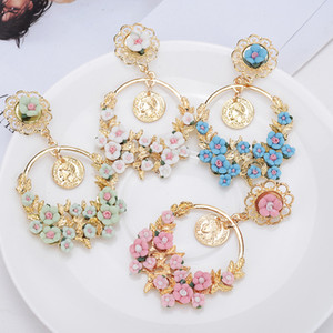 Wholesale Fashion jewelry pastoral retro exaggerated flowers large ring earrings high quality new earrings