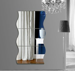 Wholesale three piece wall mirror resale online - new wall stickers pieces sets of wave combination mirror three dimensional wall stickers children s room mirror wall sticker