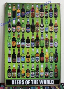 Wholesale beers of the world tin sign metal wall art beer sign for home bar pub wall decor beer poster x20cm