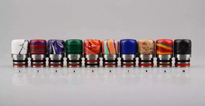 Wholesale metal epoxy resin resale online - Hot Selling Jade Stone Epoxy Mini Resin Metal Drip Tips Resin Drip Tip for Atomizer Vape Wide Bore Mouthpiece with Metal Single color