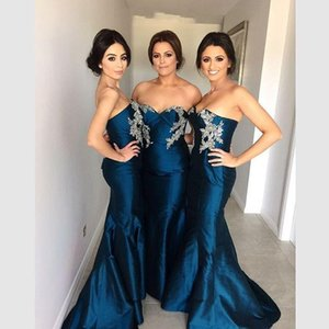 2016 New Vestidos Bridesmaid Dresses Sweetheart Appliques Beads Teal Taffeta Long Mermaid Party Dress Junior Maid Of Honor Gowns Under 100 on Sale