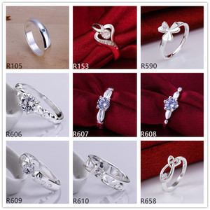 10 pieces diffrent style women's sterling silver plated rings DMMSR9, fashion gemstone 925 silver plate ring factory direct sale