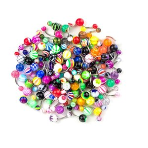 100 Pieces Belly Button Ring Tongue Rings Barbells Body Piercing Jewelry Lot Mixed Color