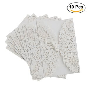 Wholesale New Fashion Set Vertical Laser Cut Butterfly Invitations Cards Kits for Wedding Bridal Shower Birthday White Greeting Cards