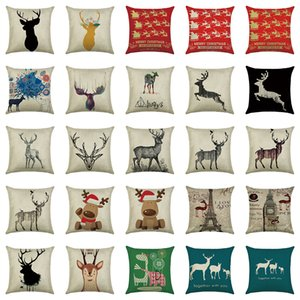 Wholesale 58 Types Elk Square Pillow Case Merry Christmas Home Decor Cotton Linen Throw Pillow Covers 45 * 45 CM Sofa Car Waist Cushion Cover