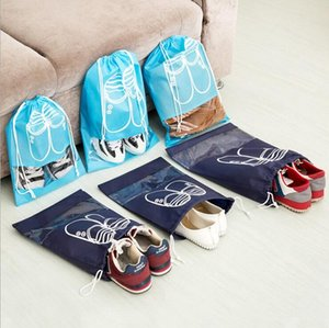 Non-woven Foldable Shoe Storage Bag with Draw String Tie and Transparent Small Window, Travel Shoe Bag Sports Shoe Bag