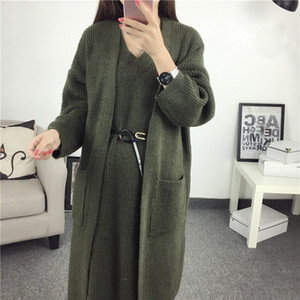 Wholesale Autumn and winter new solid color long sleeved cardigan V neck vest sweater two piece suit