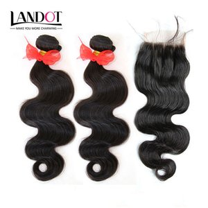 Wholesale ombre human hair piece resale online - 3 Bundles Brazilian Body Wave Virgin Human Hair Weaves With Lace Closures Unprocessed Malaysian Peruvian Indian Cambodian Wavy Remy Hair