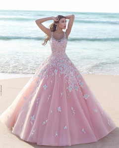 Wholesale Princess Floral Flower Pink Ball Gown Quinceanera Dresses Applique Tulle Scoop Sleeveless Lace Bodice Long Prom Dresses Formal Party