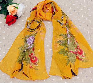 Wholesale 50 cm New Arrival Korean Style Floral Printed Lady Chiffon Silk scarves