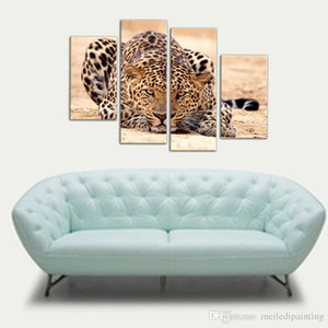 4 Picture Combination Impression Animal Oil Painting Beautiful Animal Canvas Print Art Home Decor of Forest King Tiger Paintings