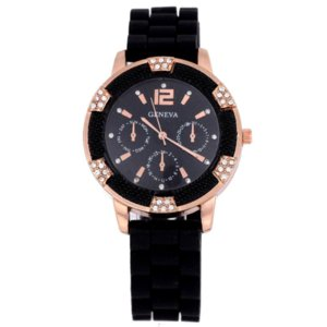 Wholesale Stylish Black Color watch women White Rose Gold Chronograph digital quartz watch Silicone with Crystal Rhinestones Bezel